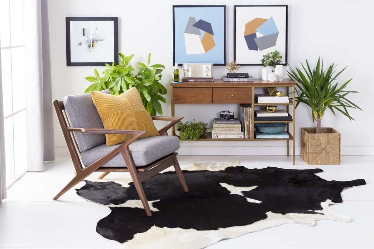 Animal Hide Living Room Rug Idea