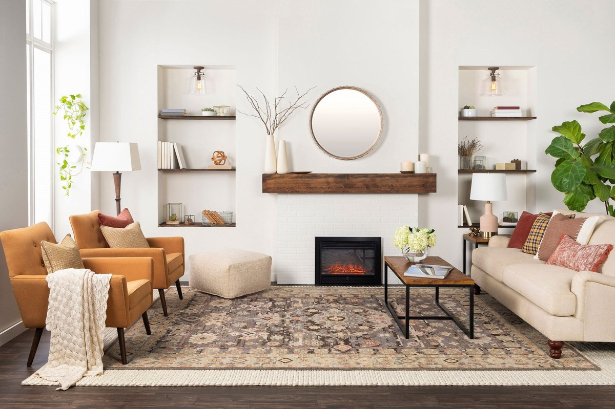Add sophistication to your living room with a natural fiber rug and unique texture.