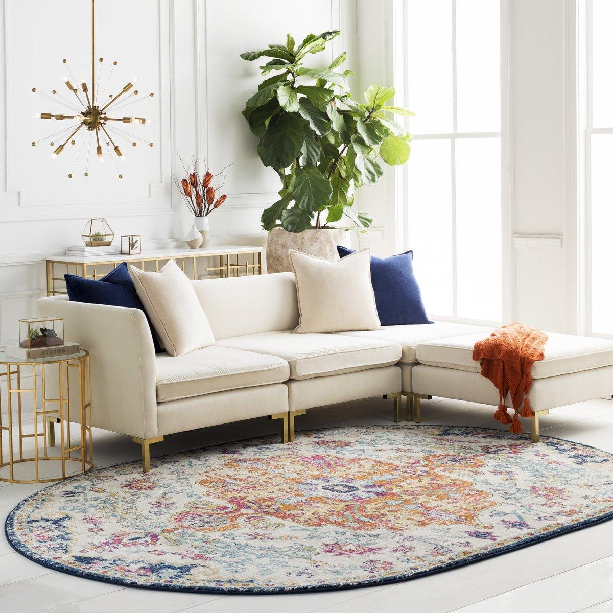 Oval vintage rug in living room
