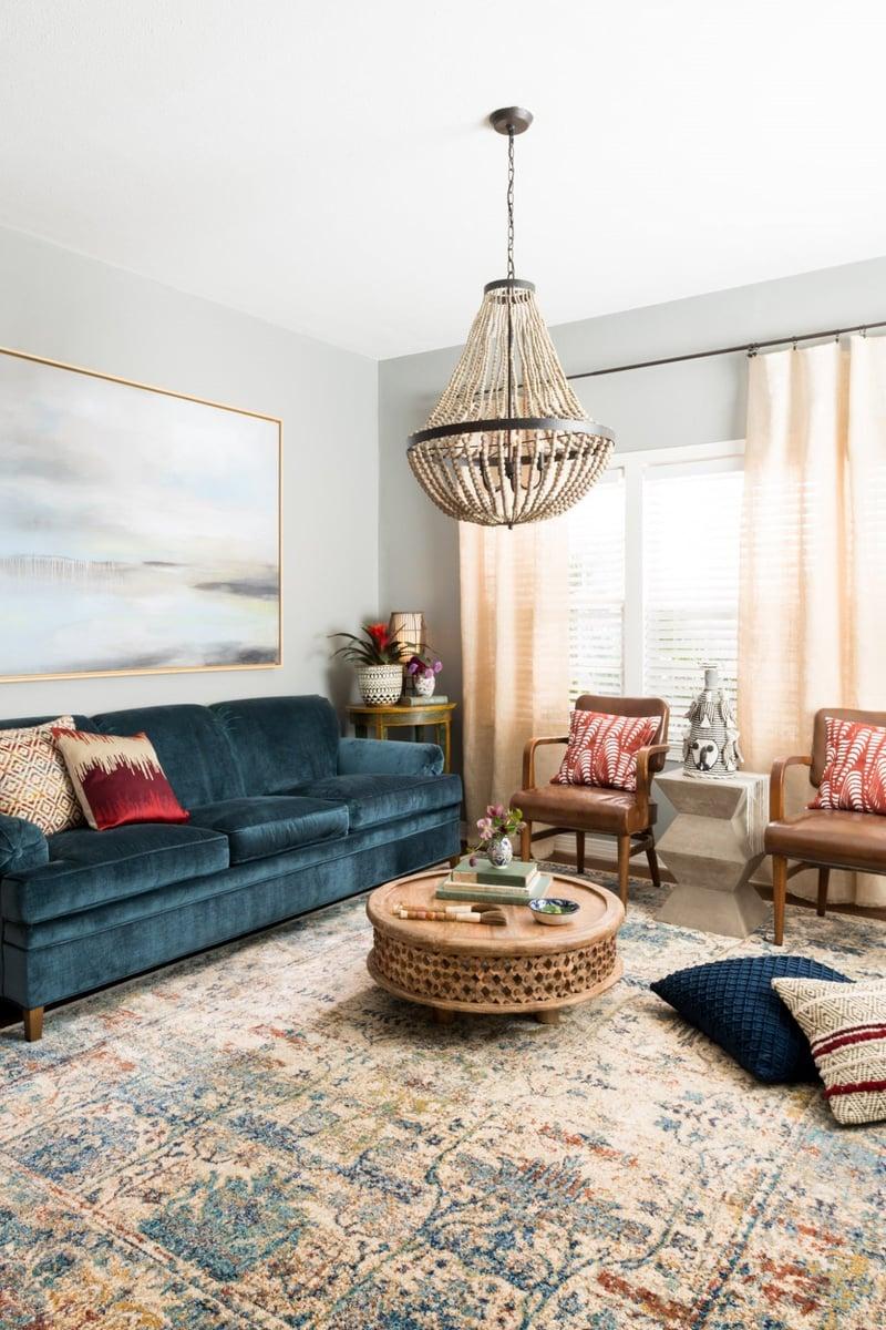 Boho Blues Living Room Ideas