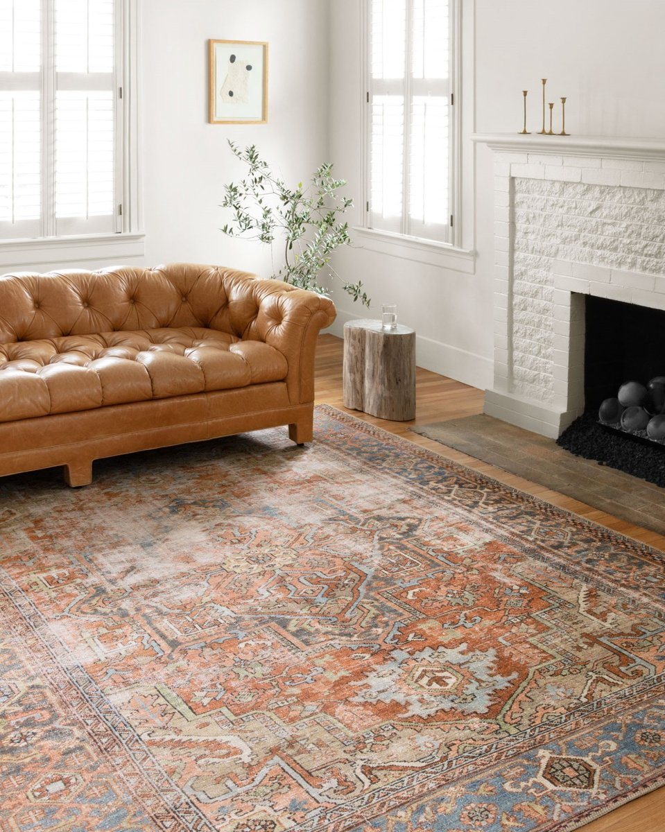 Another idea for adding bohemian style to the living room - use a rug!