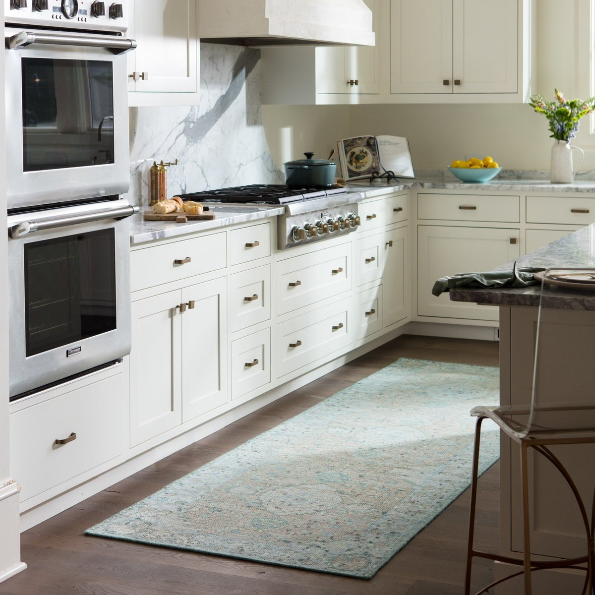 Calming Blue Rugs for the kitchen