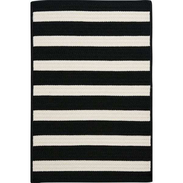 Black, White (TR-89) Striped Area Rug