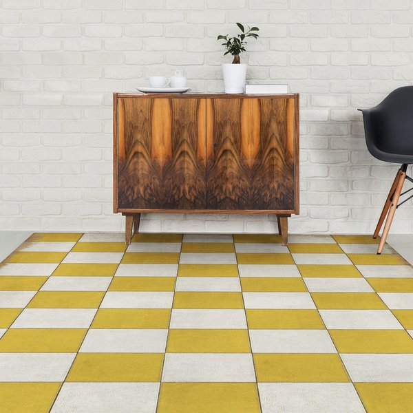 Distressed Gold, Antiqued Ivory - Check Yourself Geometric Area-Rugs