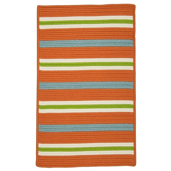 Tangerine, Blue (PS-21) Striped Area Rug