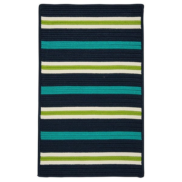 Navy Waves, Green (PS-51) Striped Area-Rugs