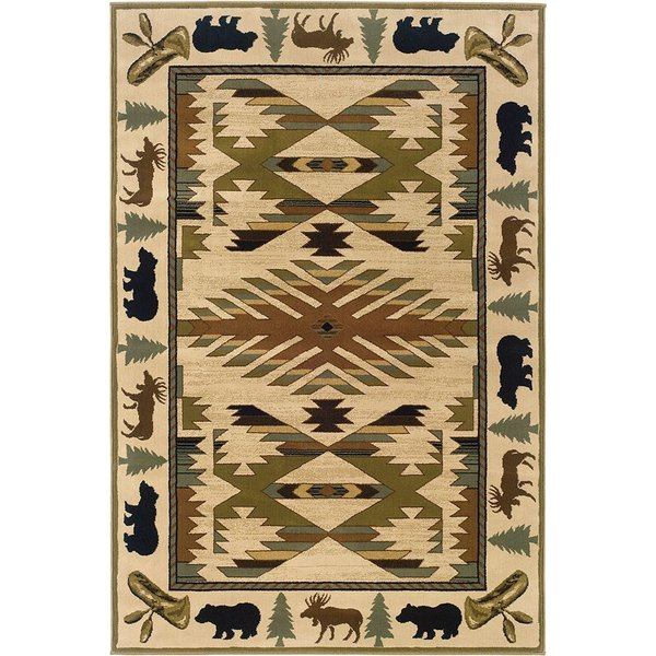 Ivory, Green Country Area Rug