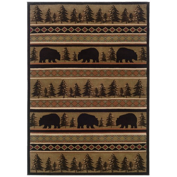 Black, Beige Country Area-Rugs
