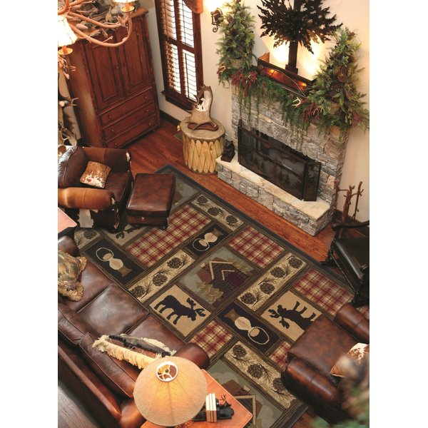 Brown, Red Country Area Rug