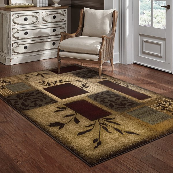 Beige, Red Contemporary / Modern Area Rug