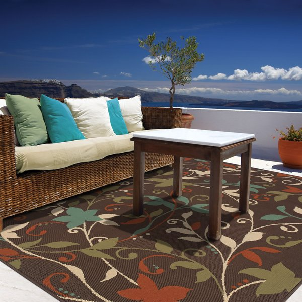 Brown, Green Floral / Botanical Area-Rugs