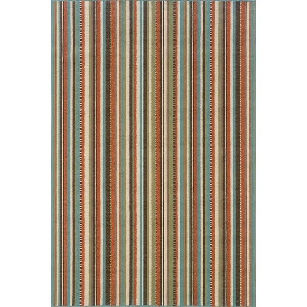 Blue, Ivory Striped Area Rug
