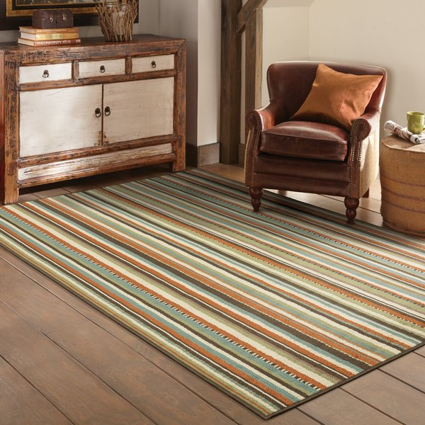Blue, Ivory Striped Area-Rugs