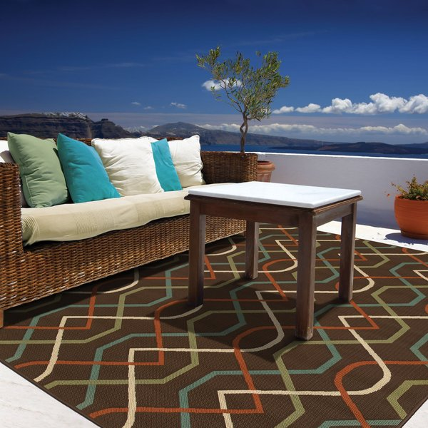 Brown, Ivory (896N) Contemporary / Modern Area-Rugs