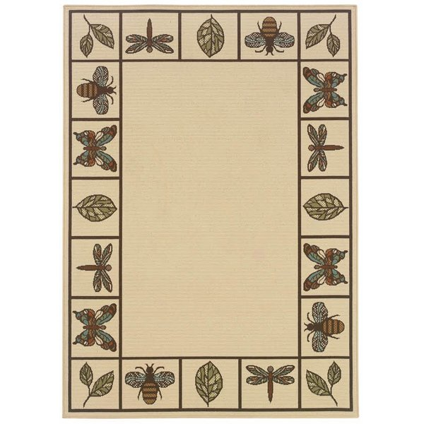 Ivory, Brown Country Area Rug