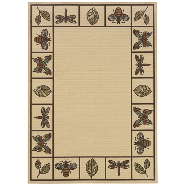 Ivory, Brown Country Area-Rugs