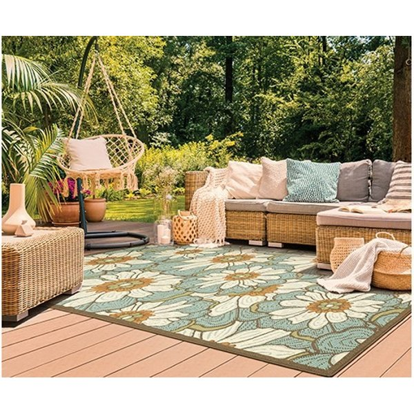 Blue, Brown Floral / Botanical Area Rug