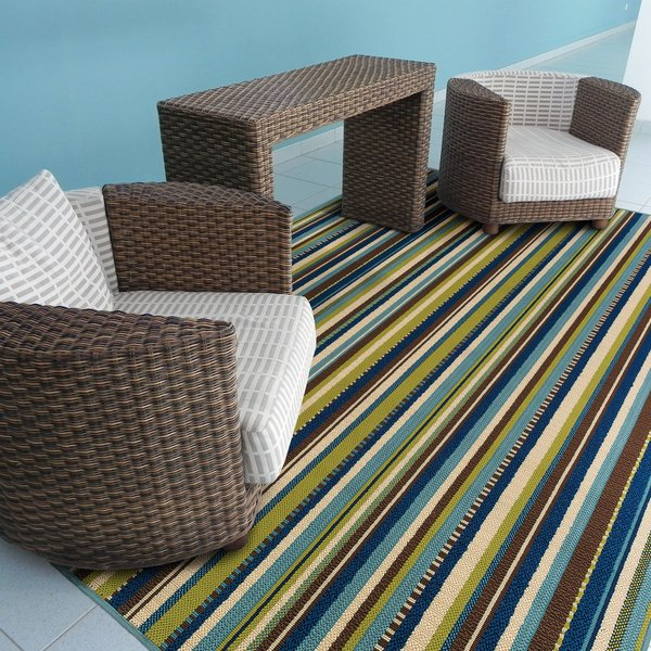 Blue, Brown Striped Area Rug