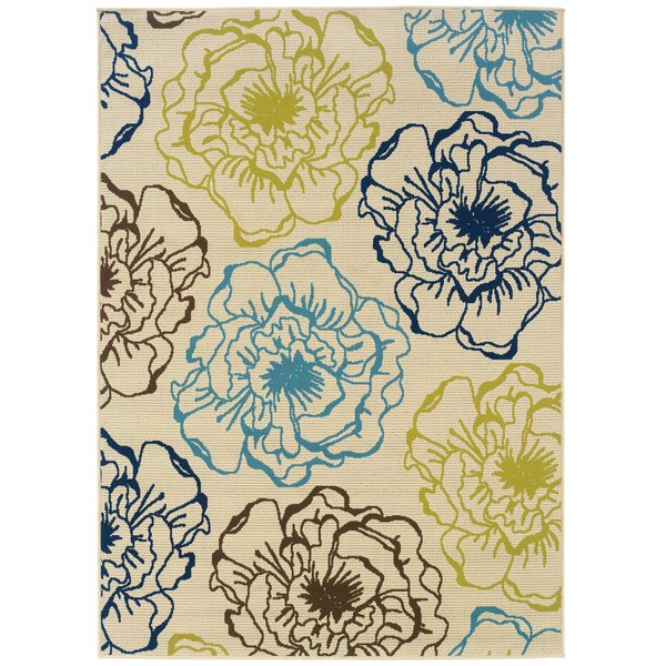 Ivory, Green Floral / Botanical Area-Rugs