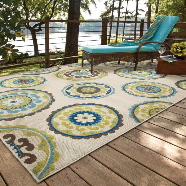 Ivory, Green (859J) Contemporary / Modern Area-Rugs