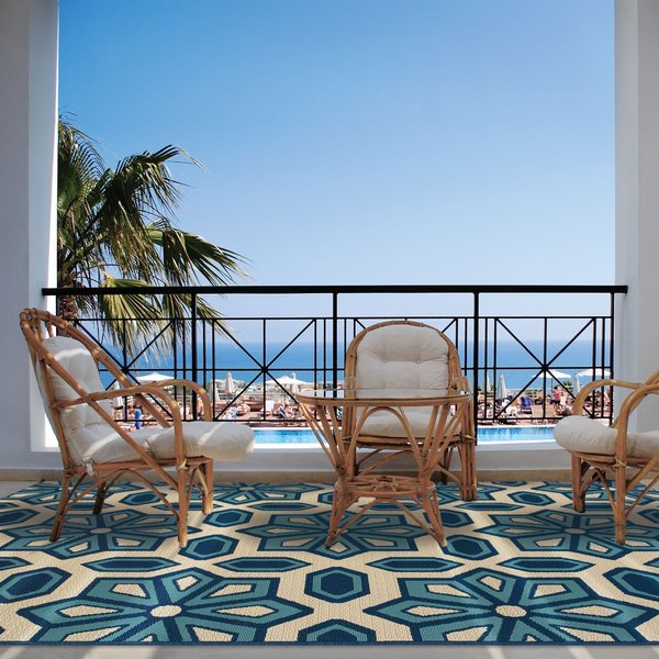 Ivory, Blue Contemporary / Modern Area-Rugs