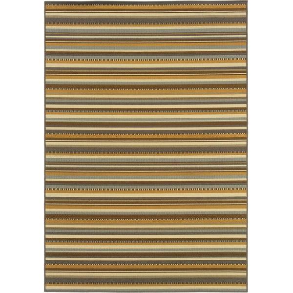 Grey, Gold (J) Striped Area Rug