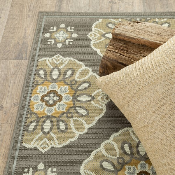 Grey, Gold (N) Contemporary / Modern Area Rug