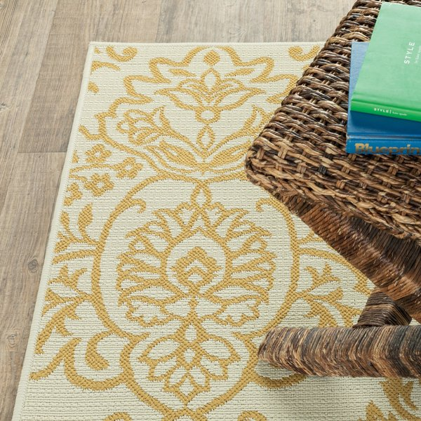 Ivory, Gold (J) Contemporary / Modern Area Rug