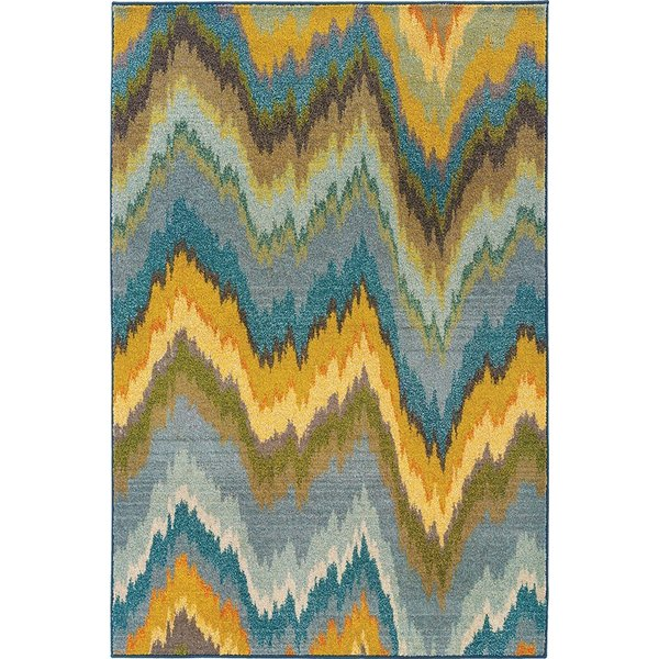 Yellow, Blue (G) Contemporary / Modern Area Rug