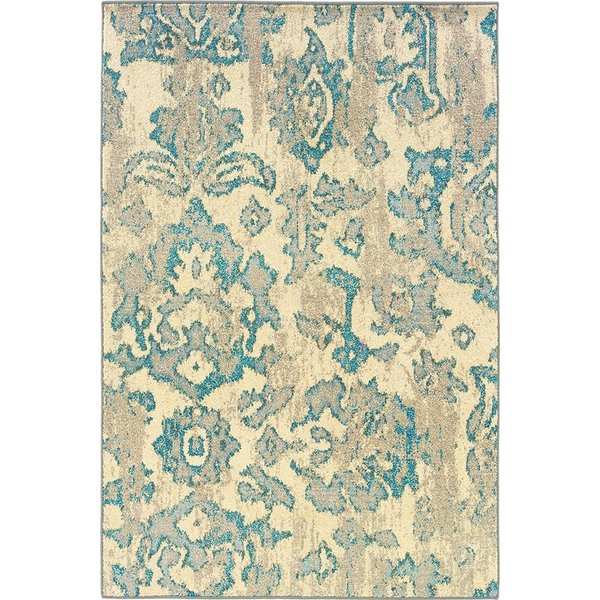 Ivory, Blue (Y) Contemporary / Modern Area Rug