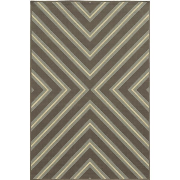 Grey, Blue (D) Contemporary / Modern Area Rug