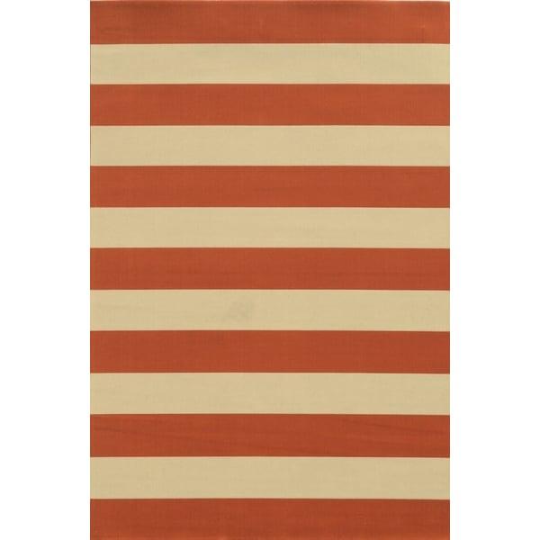 Orange, Ivory (B) Striped Area Rug