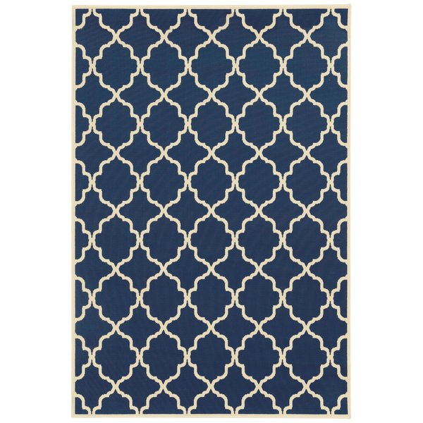 Navy, Ivory (L) Contemporary / Modern Area Rug