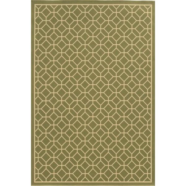 Green, Ivory (B) Geometric Area-Rugs