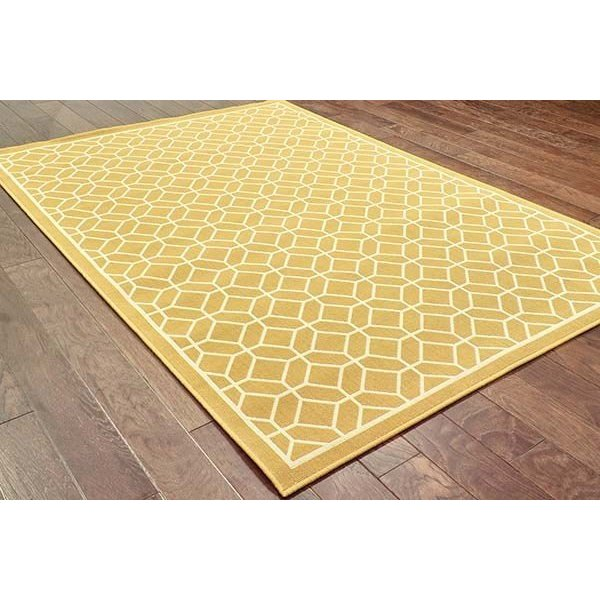 Gold, Ivory (H) Geometric Area Rug