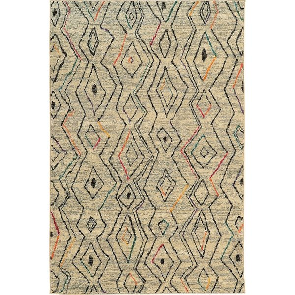 Ivory, Black (W) Moroccan Area Rug