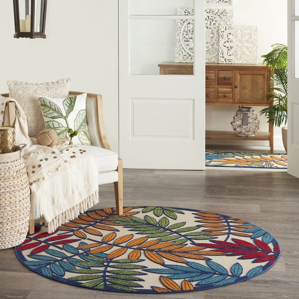 Red, Blue, Green Floral / Botanical Area-Rugs