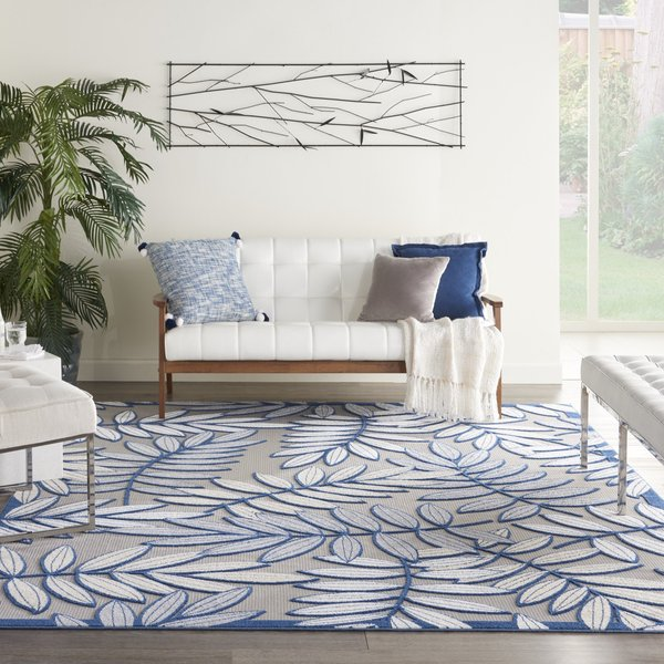 Ivory, Navy Floral / Botanical Area-Rugs