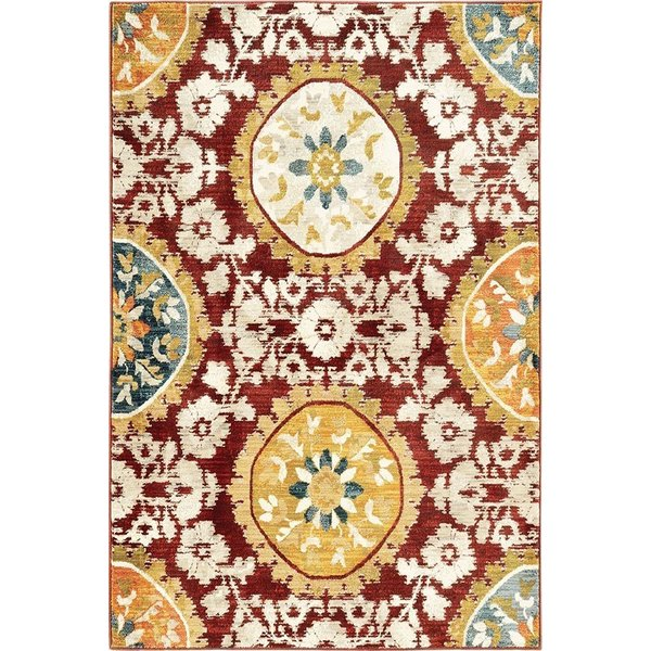 Red, Gold Contemporary / Modern Area Rug