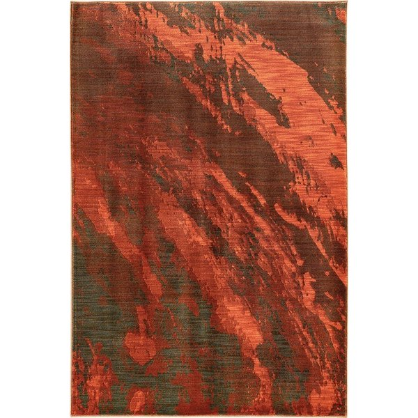Red, Charcoal (B) Abstract Area Rug