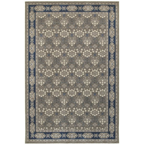 Grey, Navy (U) Traditional / Oriental Area Rug