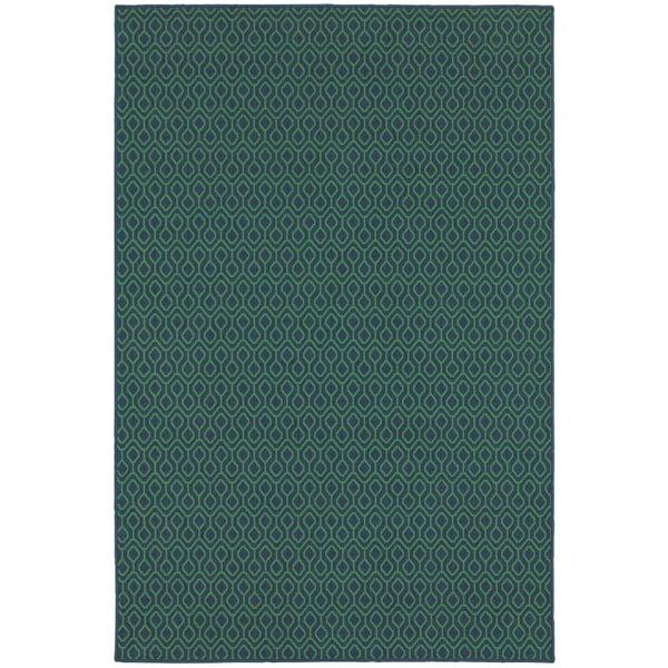 Navy, Green Contemporary / Modern Area-Rugs