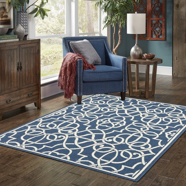 Navy, Ivory Contemporary / Modern Area-Rugs