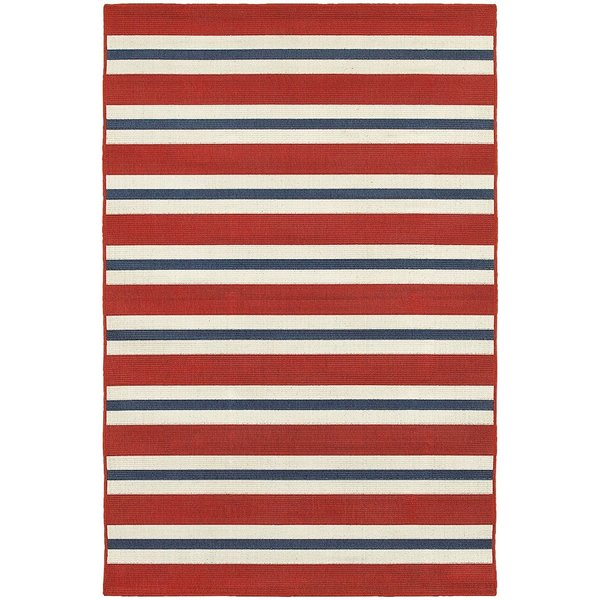 Red, Blue (R) Striped Area Rug