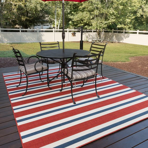 Red, Blue (R) Striped Area-Rugs