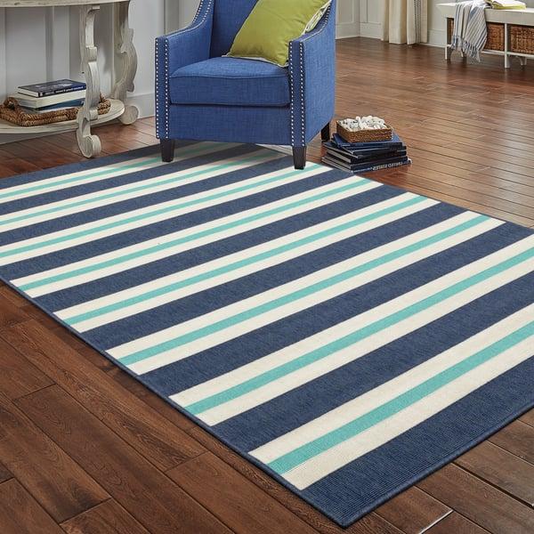 Blue, Ivory (B) Striped Area-Rugs