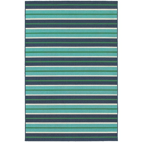 Blue, Green Striped Area Rug