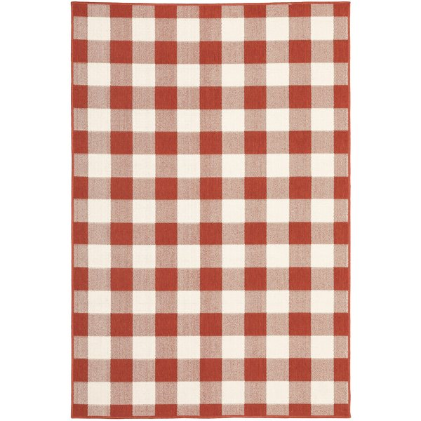Red, Ivory (R) Country Area Rug