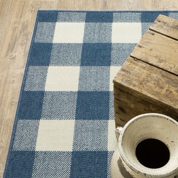 Blue, Ivory (V) Country Area-Rugs