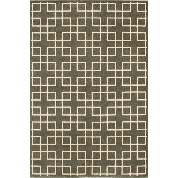 Grey, Ivory (6140N) Geometric Area Rug